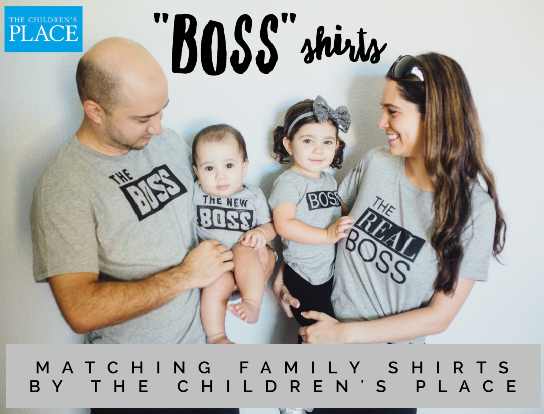 The Boss The real Boss and the New Boss matching family T-shirts and baby grow